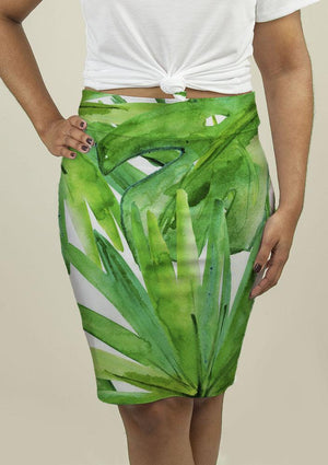 Pencil Skirt with Tropical leaves - Gala+