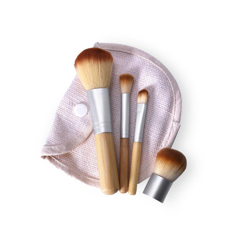 Set di 4 Pennelli in Bamboo per il Make-up - Da Viaggio - Bamboo Green Store