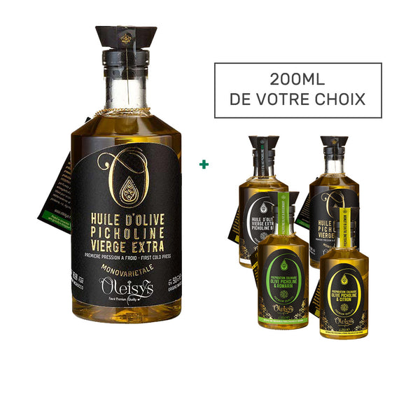 Huile d'olive Picholine vierge extra Oleisys® 500 ml + 200ml