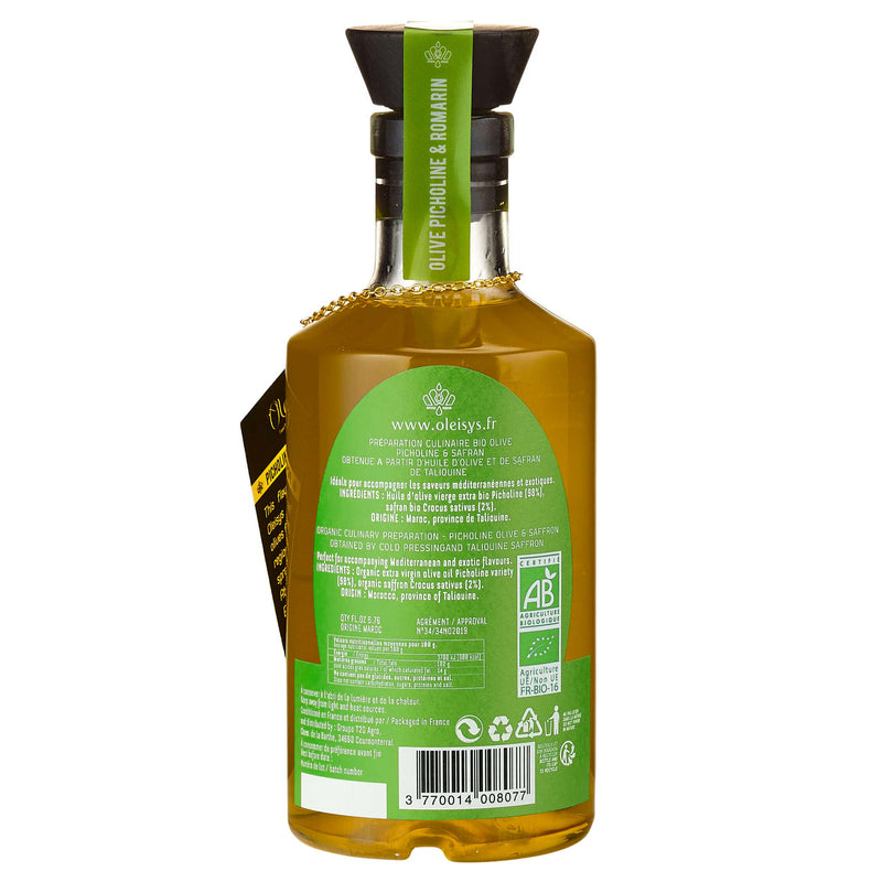 Huile d'olive culinaire olive picholine & romarin Oleisys®