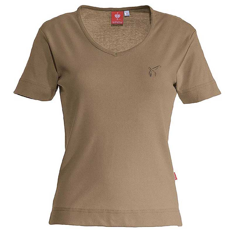 e.s. T-Shirt cotton V-Neck – Venter Tours Edition in lehm, von vorne