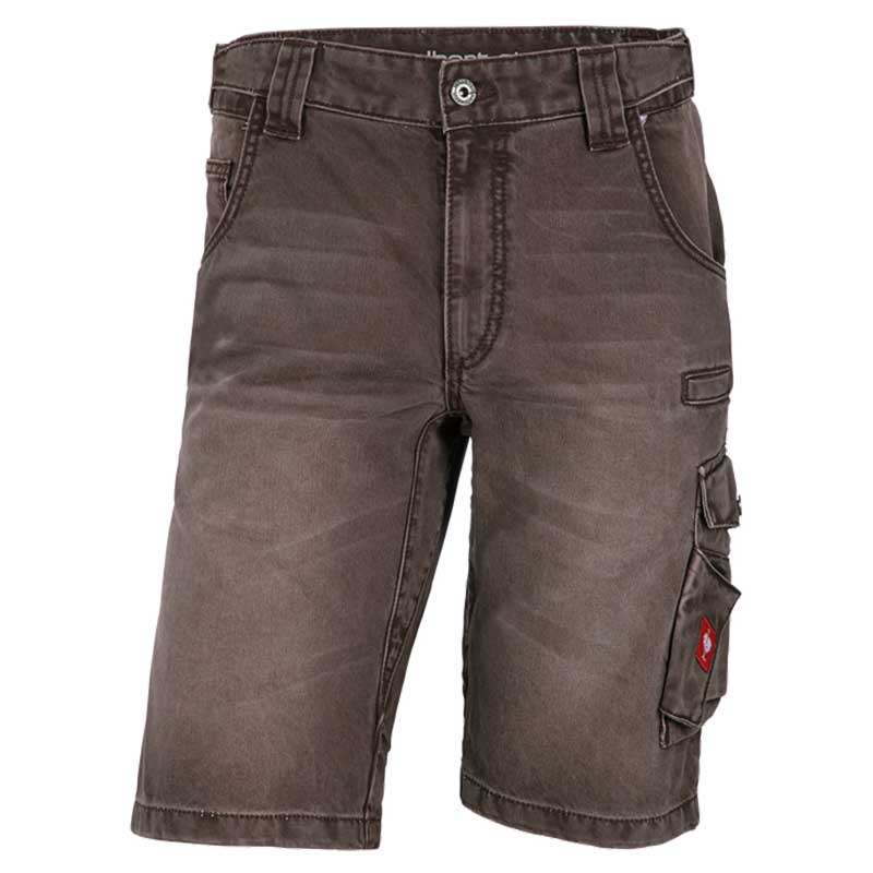 e.s. Worker-Jeans-Short – Venter Tours Edition in kastanie, von vorne