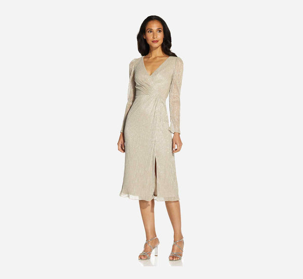 Pleated dress for winter cocktail parties