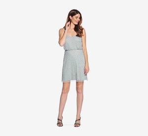 Sequin Blouson Dress In Frosted Sage