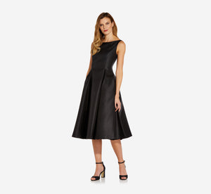 Sleeveless Mikado Fit & Flare Midi Dress In Black