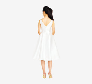 Sleeveless Mikado Fit & Flare Midi Dress In Ivory