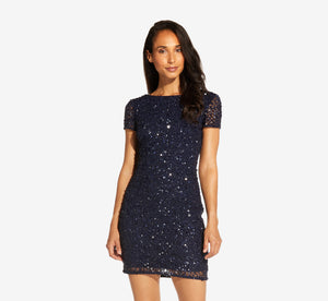 Beaded Cocktail Dress In Navy