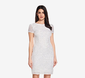 Beaded Cocktail Dress In Ivory