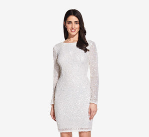 Petite Long Sleeve Sequin Cocktail Dress In Ivory