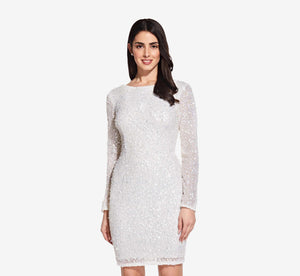 Long Sleeve Sequin Cocktail Dress In Ivory