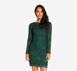 Long Sleeve Sequin Cocktail Dress In Dusty Emerald