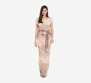 Floral Matelasse Gown In Blush Multi