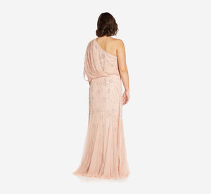 Plus Size One Shoulder Beaded Gown In Blush