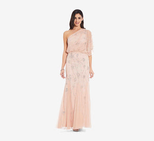 One Shoulder Beaded Gown In Blush