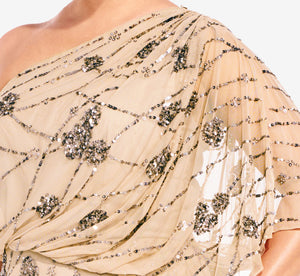 Plus Size One Shoulder Beaded Gown In Nude