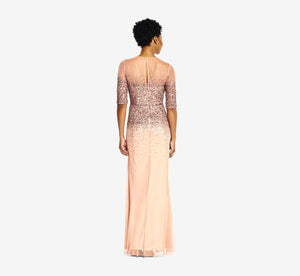 Beaded Illusion Gown In Rose Gold