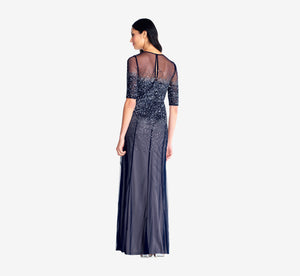 Beaded Illusion Gown In Navy