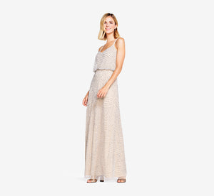 Petite Art Deco Beaded Blouson Gown In Silver Nude