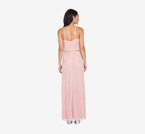 Art Deco Beaded Blouson Gown In Aurora Pink