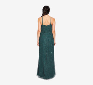 Art Deco Beaded Blouson Gown In Dusty Emerald