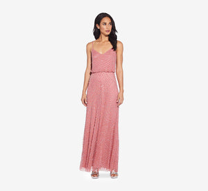 Art Deco Beaded Blouson Gown In Sugar Poppy