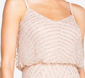 Petite Art Deco Beaded Blouson Gown In Blush