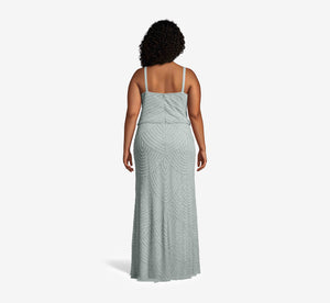 Plus Size Art Deco Beaded Blouson Gown In Frosted Sage