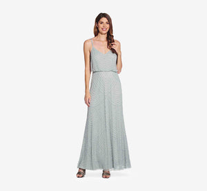 Art Deco Beaded Blouson Gown In Frosted Sage