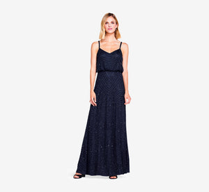 Art Deco Beaded Blouson Gown In Navy Black