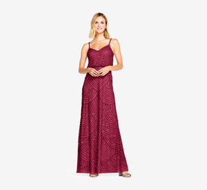 Art Deco Beaded Blouson Gown In Burgundy Glow
