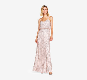 Petite Art Deco Beaded Blouson Gown In Blush Gold