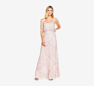 Art Deco Beaded Blouson Gown In Blush Gold