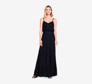 Petite Art Deco Beaded Blouson Gown In Black