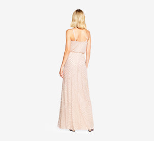 Art Deco Beaded Blouson Gown In Blush