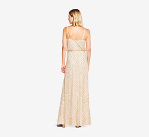 Petite Art Deco Beaded Blouson Gown In Champ Gold