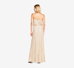 Art Deco Beaded Blouson Gown In Champ Gold