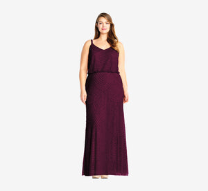 Plus Size Art Deco Beaded Blouson Gown In Cassis