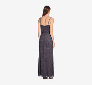 Art Deco Beaded Blouson Gown In Gunmetal
