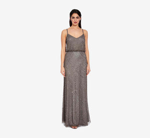 Art Deco Beaded Blouson Gown In Lead