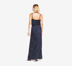 Petite Art Deco Beaded Blouson Gown In Navy