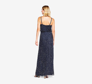 Art Deco Beaded Blouson Gown In Navy