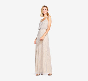 Art Deco Beaded Blouson Gown In Silver Nude