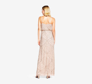 Petite Art Deco Beaded Blouson Gown In Taupe Pink