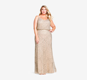 Plus Size Art Deco Beaded Blouson Gown In Taupe Pink