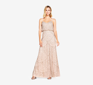 Art Deco Beaded Blouson Gown In Taupe Pink