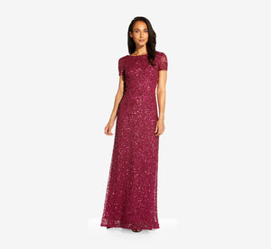 Scoop Back Sequin Gown In Burgundy Glow