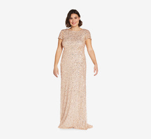 Plus Size Scoop Back Sequin Gown In Champagne Gold