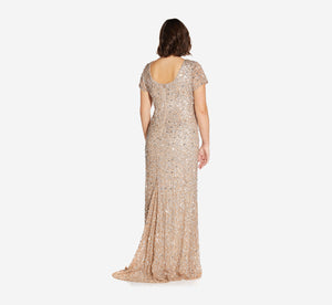 Plus Size Scoop Back Sequin Gown In Champagne