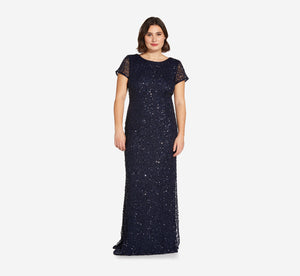 Plus Size Scoop Back Sequin Gown In Navy