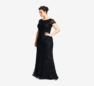 Plus Size Scoop Back Sequin Gown In Black